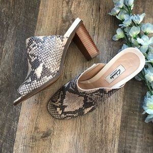 Clark's | Leather Snake Print Heeled Mules